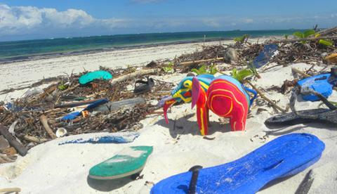 recycled animals made from flip-flops