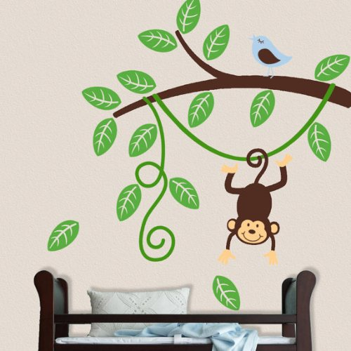 one hip sticker chic monkey branch wall decal. Black Bedroom Furniture Sets. Home Design Ideas