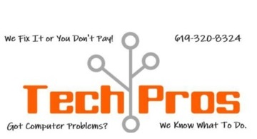 TECH PROS IN SAN DIEGO LOGO AND PHONE NUMBER FOR COMPUTER REPAIR SAN DIEGO