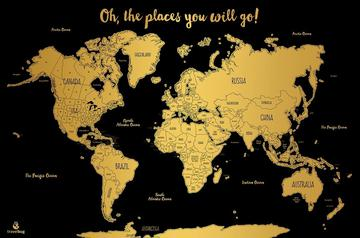 Grad season gifting this scratch off water color world map is the ultimate gift for your jet setting graduate the map is featured in all gold and with each new place visited gumiabroncs Gallery
