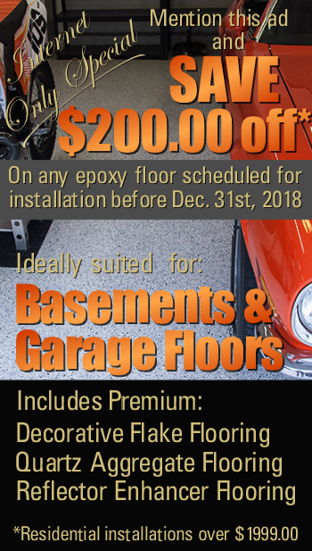 Save $100  on an epoxy floor installation includes flake, quartz and reflector flooring