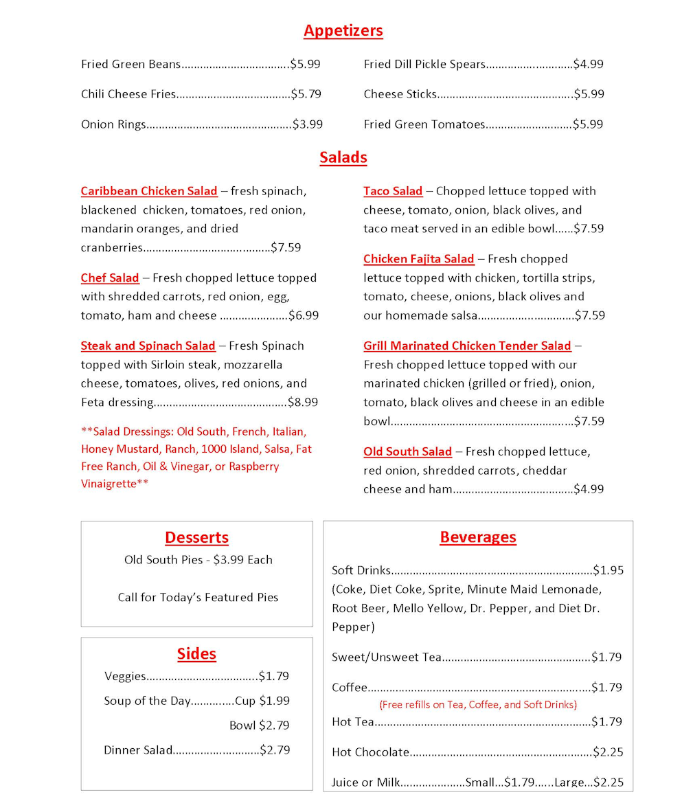 Old South Menu Page 1
