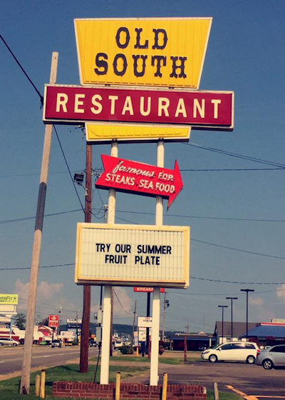 SIgn in front of Old South Restaurant
