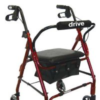 "Drive Aluminum Rollator, Padded Seat, 6"" Casters with Loop Locks"