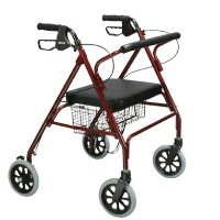"""Drive Go-Lite Bariatric Steel Rollator, Padded Seat, 8"""" Casters with Loop Locks"""
