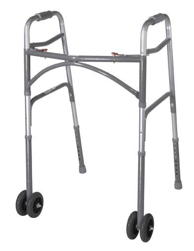 Drive Adult, Wider & Deeper Frame Design Aluminum Folding Walker, Two Button with HD Wheels, Bariatric
