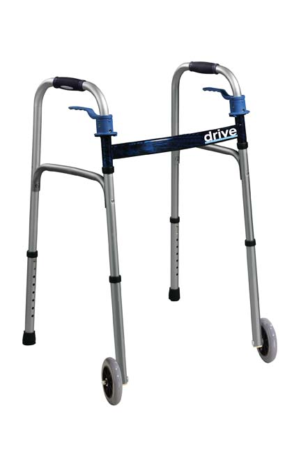 """Drive Junior, Deluxe Trigger Release Folding Walker with 5"""" Wheels"""