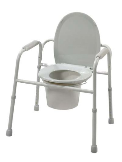 Deluxe All-In-One Welded Steel Commode with Plastic Armrests by Drive