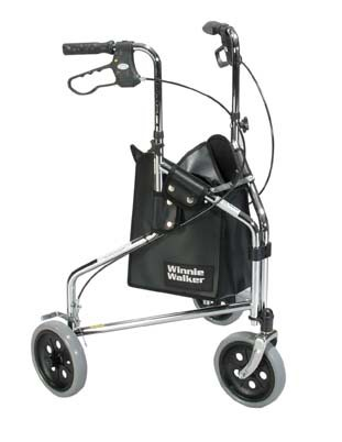 "Drive Winnie Deluxe 3 Wheel Steel Rollator, 7.5"" Casters with Loop Locks walker"
