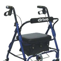 "Drive Junior, Aluminum Rollator, Padded Seat, 6"" Casters with Loop Locks"