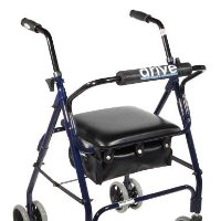 "Drive Aluminum Rollator, Padded Seat, 6"" Casters with Push Lock"