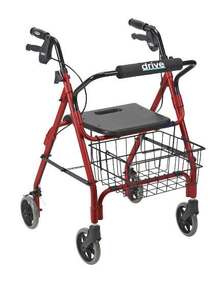 """Drive Deluxe Aluminum Rollator with Plastic Seat, 6"""" Casters with Lever Locks and Basket."""