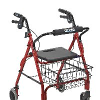 "Drive Deluxe Aluminum Rollator with Plastic Seat, 6"" Casters with Lever Locks and Basket."