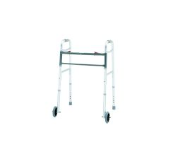 """Merits Bariatric Aluminum Folding Walker, Two Button with 5"""" wheels"""