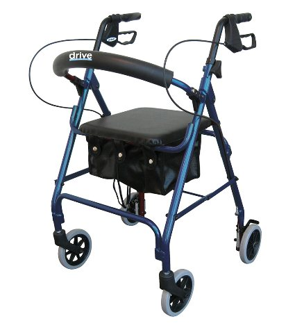 """Drive Aluminum Rollator, Padded Seat, 6"""" Casters with Loop Locks"""