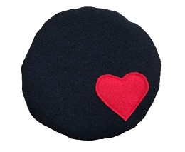 Black Beret with Red Heart