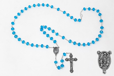 Turquoise Crystal Rosary & Rosary Box.