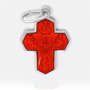 5 Way Miraculous Medal Red.