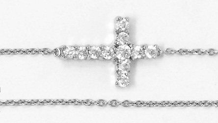925 Cross Bracelet with CZ Stones.