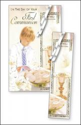 Boy's Communion Bookmark Card.