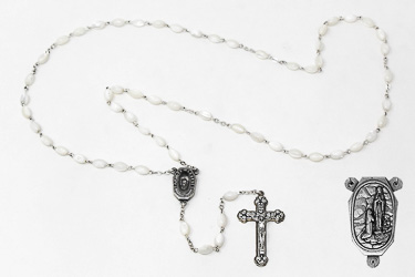 Mother of Pearl Lourdes Water Rosary;