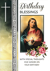 Birthday Card Sacred Heart of Jesus.