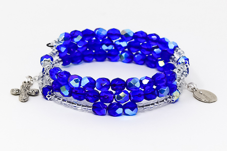 Blue Crystal Memory Wire Rosary Bracelet
