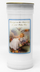 Boy's - Christening Pillar Candle.