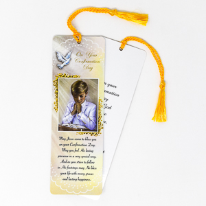 Boy's Bookmark with Confirmation Prayer.