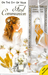 Girl's Communion Bookmark Card.