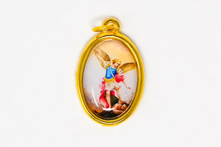 Colourful Gold St Michael Medal.