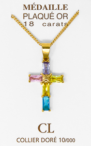 Gold Plated Cubic Zirconia Cross Necklace.