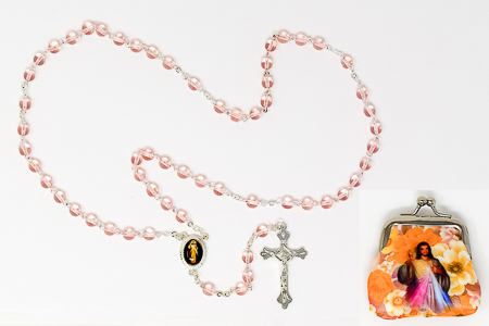 Divine Mercy Rosary Beads & Rosary Purse