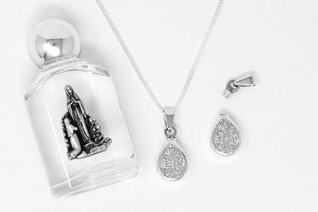 Engraved Holy Water Bottle Necklace.