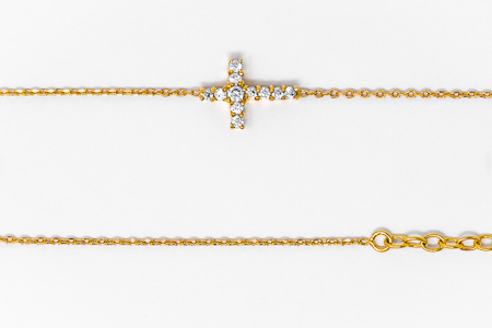 Gold Cross Bracelet with CZ Stones.
