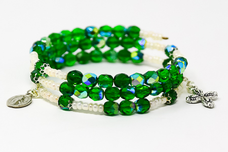 Green Crystal Memory Wire Rosary Bracelet