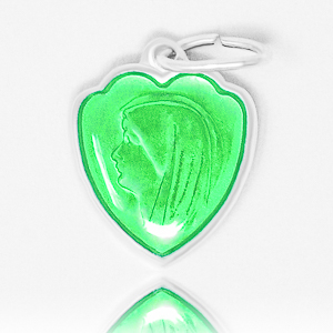 Green Heart Our Lady of Lourdes Medal.