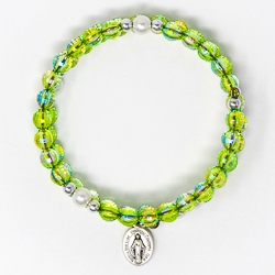 Green Memory Wire Rosary Bracelet