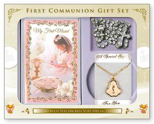 Girls Pink First communion gift set.