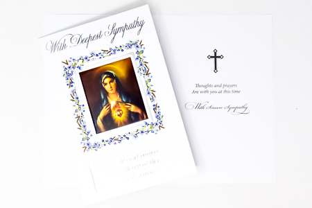 Immaculate Heart of Mary Sympathy Card.