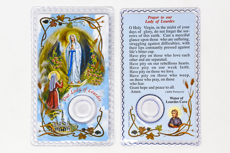 Lourdes Water Prayer Card.