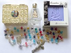 Rosary, Lourdes Water & Lavender Soap Gift Set.