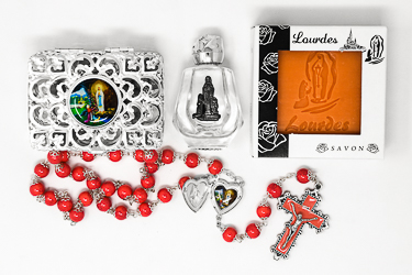 Rosary, Lourdes Water & Peach Soap Gift Set.