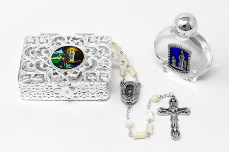 Lourdes Water Rosary Gift Set.