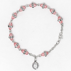 Miraculous Pink Crystal Rosary Bracelet.