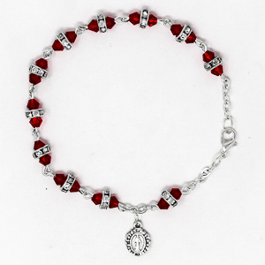 Miraculous Red Crystal Rosary Bracelet.