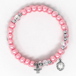 Pink Memory Wire Rosary Bracelet