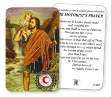 St. Christopher Prayer Card with Relic Cloth.