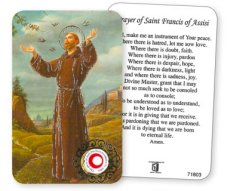 St.Francis Prayer Card with Relic Cloth.