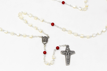 Real Mother of Pearl Coral Rosary Beads